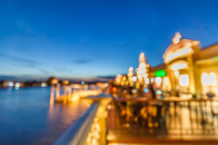People have dinner at restaurant near Chaopraya river Stock Photo