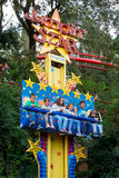 People have fun at the freefall attraction at Tibidabo Amusement Park Royalty Free Stock Image