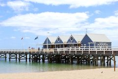 People have fun at the Jetty of Busselton, Western Australia Stock Photos