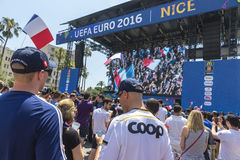 People have fun at official fanzone of UEFA EURO 2016 in City of Royalty Free Stock Images