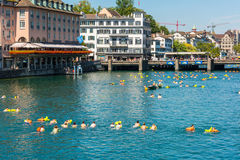People have fun participating the swimming summer festival Royalty Free Stock Photos