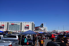 People have fun tailgating parking lot before the start of the s Stock Image