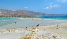 People have a joy at Elafonisi beach. Royalty Free Stock Image