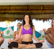 People have meditation on yoga class stock image