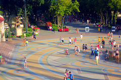 People have a rest in Gorky park in Kharkiv. Top view. People have a rest in Gorky park in Kharkiv in the summer. Top view Royalty Free Stock Photography