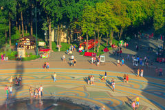 People have a rest in Gorky park in Kharkiv. Top view. People have a rest in Gorky park in Kharkiv in the summer. Top view Royalty Free Stock Photo