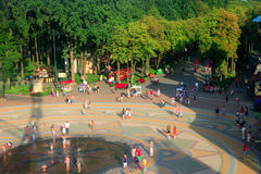 People have a rest in Gorky park in Kharkiv. Top view. Kharkiv / Ukraine. 07 August 2016: people have a rest in Gorky park in Kharkiv in the summer. Top view. 07 Royalty Free Stock Images