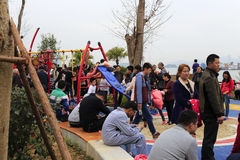 People have a rest in haicang bay park Stock Photos