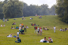People have a rest at the Kolomenskoe park Stock Image