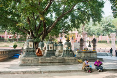 People have rest and meditation in yard of historical temple Royalty Free Stock Photos