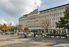 Hviezdoslav square in Bratislava, Slovakia. People have a rest and walk along Hviezdoslavovo namestie and Carlton hotel, located in the Old Town, between New Royalty Free Stock Photo