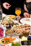 People have supper on a banquet. Stock Image