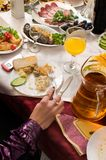 People have supper on a banquet. People have supper, drink drinks. Restaurant Stock Photography