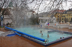 People have a thermal bath in the Gellert spa in Budapest Royalty Free Stock Photography