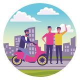 People having fun at city. People having fun with scooter at city urban scenery round icon vector illustration graphic design stock illustration