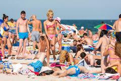 People Having Fun On Costinesti Beach stock photography