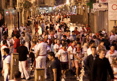 People are having fun at  opening of San Fermin Stock Image