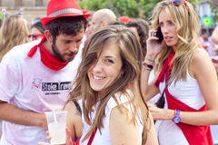 People having fun at opening of San Fermin fes Royalty Free Stock Photography