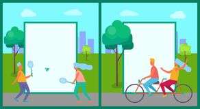 People Having Fun in Park Set of Illustrations. People having fun in park collection of vector illustrations with white rectangles. Teenage boys and girls stock illustration