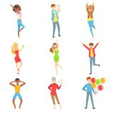 People Having Fun At The Party Set Of Illustrations. Flat Colorful Simple Drawings With Different People Having Good Time And Smiling At The Event Royalty Free Stock Photography
