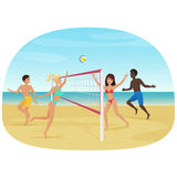 People having fun playing volleyball on the beach vector illustration. Active seabeach sport. Royalty Free Stock Photo
