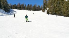 People having fun skiing winter holiday. People having fun skiing at winter holiday stock video
