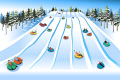 People Having Fun Sledding on Tubing Hill During Winter Stock Photos
