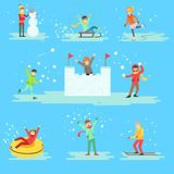 People Having Fun In Snow In Winter Set Of Illustrations Royalty Free Stock Photography
