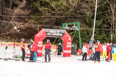 People Having Fun On Snowy Mountain Sky Resort Royalty Free Stock Image