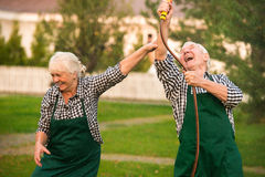 People having fun, water hose. Cheerful old couple outdoor royalty free stock image
