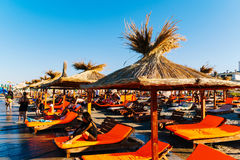 People Having Fun In Water And Relaxing In Mamaia Beach Resort At The Black Sea In Romania stock image