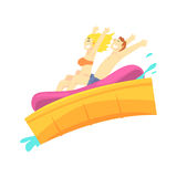 People having fun on a water slides at water park in summer vacation cartoon vector Illustration. On a white background Stock Photo