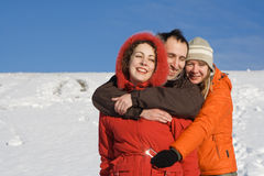 People having fun at winter Royalty Free Stock Photo