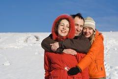 People having fun at winter Royalty Free Stock Photo