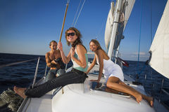 People having fun on a yacht Royalty Free Stock Image