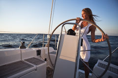 People having fun on a yacht Stock Image