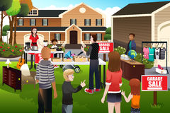People having a garage sale Royalty Free Stock Images