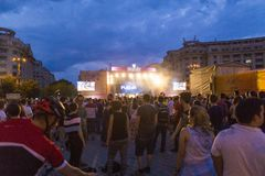 People having a good time and watching a concert at Friendship Day`s f. Estival in Bucharest, Romania royalty free stock image