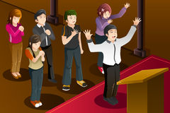 People having a group prayer. A vector illustration of people having a group prayer Stock Image