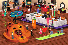 People Having Halloween Party. A vector illustration of people doing indoor activities during Halloween Stock Image