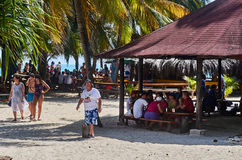 People having lunch in Johnny Cay Royalty Free Stock Image