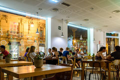 People Having Lunch In Restaurant Downtown Of Valencia City In Spain Stock Image