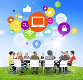 People Having a Meeting Outdoors and Computer Concepts Royalty Free Stock Images