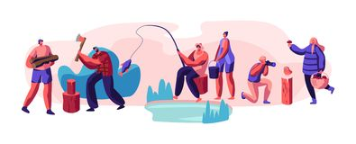 People Having Outdoors Active Rest Set. Male and Female Characters Hobby at Leisure Time, Men and Women Relaxing, Fishing. Taking Pictures, Pick Up Mushrooms vector illustration