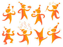 People having a party. Illustrated collection of people celebrating. Isolated Stock Photography
