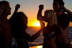 People having party at beach with drinks Stock Photography