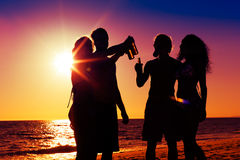 People having party at beach with drinks. People (two couples) on the beach having a party, drinking and having a lot of fun in the sunset (only silhouette of Stock Image