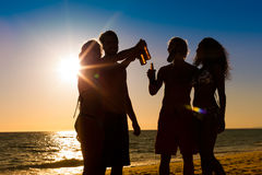 People having party at beach with drinks. People (two couples) on the beach having a party, drinking and having a lot of fun in the sunset (only silhouette of Stock Photo