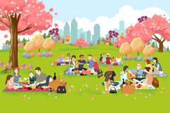 People Having Picnic at the Park During Spring. A vector illustration of People Having Picnic at the Park During Spring vector illustration