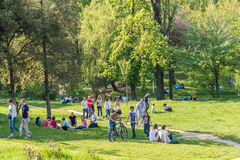 People Having Picnic And Playing Games Stock Photo